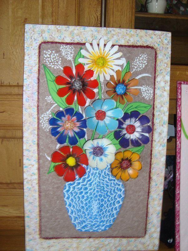 Tableau de fleurs - Bricolage avec des bouteilles en plastique ...